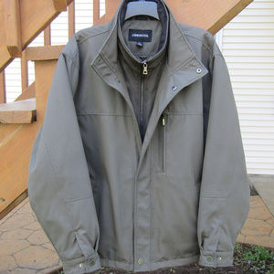 London Fog Men's Stand Collar Jacket With Bib